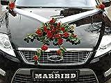 Autoschmuck Spitze STRAUß Auto Schmuck Braut Paar Rose Deko Dekoration Hochzeit Car Auto Wedding Deko PKW (Rot)