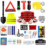 ISWEES Car Emergency Kit with Jumper Cable,Auto Roadside Assistance Tool Bag for Truck Vehicle LED Flashlight,Winter Traveler Safety Emergency Kit with Blanket Shovel Triangle (12 x 7 x 3 inches)