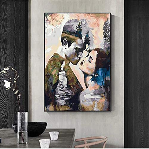 wZUN Nórdico Abstracto Mujer Hombre Retrato Cartel Lienzo Pintura Cartel impresión Pared Arte Imagen 60x90 Sin Marco