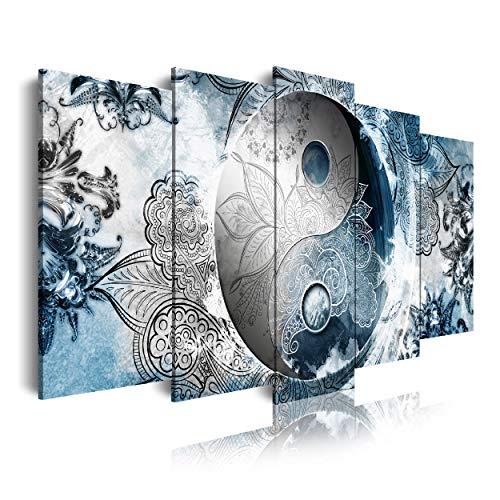 DekoArte 555 - Cuadros Modernos Impresión de Imagen Artística Digitalizada | Lienzo Decorativo Para Tu Salón o Dormitorio | estilo étnico ying y yang colores plata azul, | 5 Piezas 150 x 80 cm