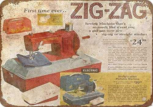 Metal Tin Signs Vintage Sign 8x12 Inches 1969 Zig-zag Sewing Machine Look Reproduction Sign Wall Plaque Retro Club Pub Bar Poster Decor