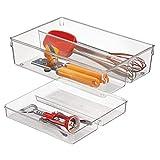 mDesign Cubertero doble para cajones de cocina – Bandeja para cubiertos con 4 compartimentos – Ideal para espumaderas, cucharones y utensilios de cocina – Dos pisos – Transparente