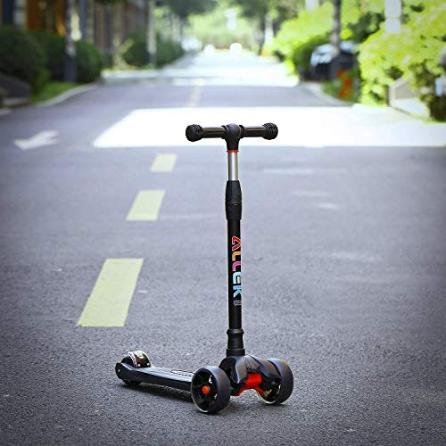 Allek Kick Scooter B02, Lean 'N Glide Scooter with Extra Wide PU Light-Up Wheels and 4 Adjustable Heights for Children from 3-12yrs (Black)