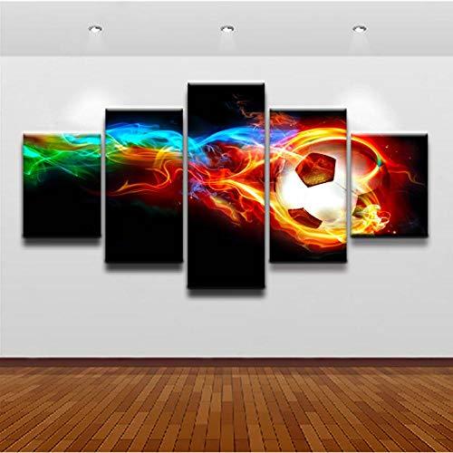 Preisvergleich Produktbild Wslin Modulare Leinwand Gemälde Wandkunst Wohnzimmer Wohnkultur 5 Stücke Bunte Flammen Fußball Gemälde Hd Poster Poster Drucke Auf Leinwand 150X80Cm