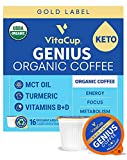 VitaCup Organic Keto Coffee Pod, Genius Gold Label with MCT, Turmeric, B Vitamins & D3 for Energy & Focus in Recyclable Single Serve Pod compatible with Keurig K-Cup Brewers 16 Count