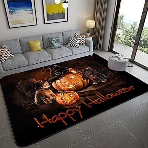 Cómodo y Suave Moderna Alfombra Antideslizante Tema de Halloween de Linterna de Calabaza de Gato 200x300CM(6'6''x9'8'')