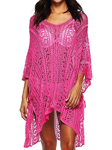 Tuopuda Mujer Pareos Playa Traje de Baño Vestido de la Playa Bikini Cover up Camisola de Playa (Rosa roja)