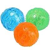Pssopp 3 Stücke Hundespielzeug Quietschball Spielzeug für Hunde Unzerstörbar Hunde Bälle Hundespielball aus Naturkautschuk Gummi Hunde Bälle Spielzeug für Hunde, Ø 6,5cm