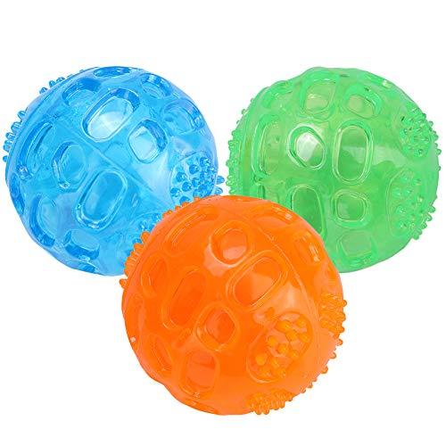 3 Stücke Hundespielzeug Quietschball Spielzeug für Hunde Unzerstörbar Hunde Bälle Hundespielball aus Naturkautschuk Gummi Hunde Bälle Spielzeug für Hunde, Ø 6,5cm