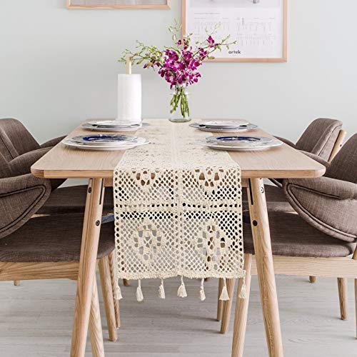 Dremisland Natural Macrame Table Runner Cotton Crochet Lace Boho Wedding Table Runner with Tassels for Bohemian Rustic Wedding Bridal Shower Home Dining Table Decor