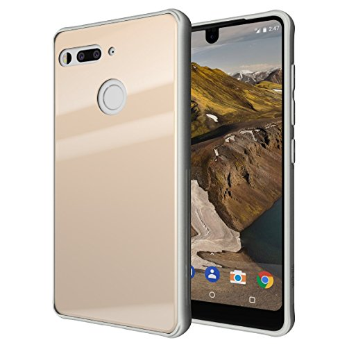 Essential Phone PH-1 Case, TUDIA [Ceramic Feel] Lightweight [GLOST] TPU Bumper Shock Absorption Cover Featuring [Tempered Glass Back Panel] for Essential Phone PH-1 (Gold)