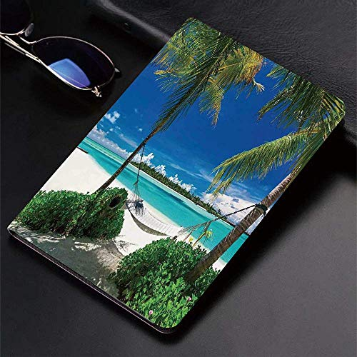 Case for matad (9.7-Inch, 2018/2017 Model, 6th/5th Generation) Ultra Slim Lightweight Smart Cover,Holiday Decorations,Hammock palm Trees Tropical Beach Scenic Coastline,Smart Covers Auto Wake/Sleep