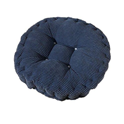 MSYOU Coussin de chaise rond confortable pour la maison, la cuisine, le jardin, la salle à manger, le bureau, 40 x 40 cm (bleu foncé) 40*40cm noir foncé