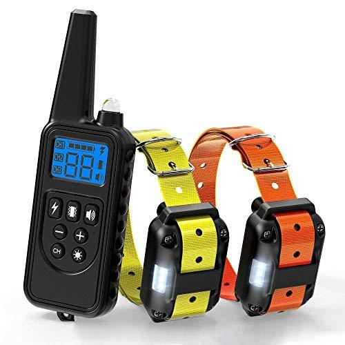 YODZKJ Collar de Entrenamiento para Perros de 800 m, Collar de Control Remoto para Mascotas, Collares de Perro antiladridos Recargables a Prueba de Agua con Pantalla LCD