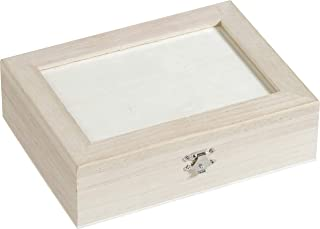 Knorr Prandell Panier en Bois certifié FSC 21,5 x 16 cm-Boîte de Rangement avec 6 Compartiments et Verre Marron