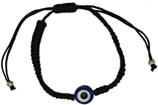 BT Weaved String Contemporary Kabbalah Bracelet with Blue Evil Eye for Protection and Blessing