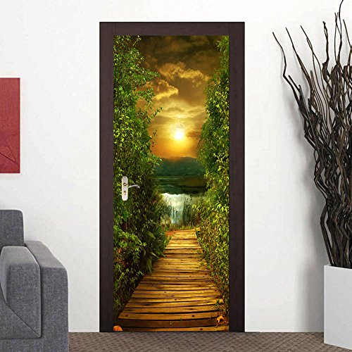 FLFK 3D Sunset Wood Bridge Door Stickers Wall Murals Wallpaper for Home Bedroom Decor 30.3'x78.7'
