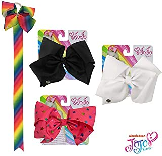JoJo Siwa Kids Girls Hair Bow Accessories Set (3 Solid Color Bows, Bow Organizer, Set of 3 Bracelets)