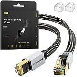 Cable Ethernet Cat8 de 2M, Cordón de Remiendo de Lan de Nylon Trenzado de Alta Velocidad, Cable Plano Blindado RJ45 de 40Gbps 2000Mhz, para el Módem/Enrutador/Conmutador más rápido que Cat5e/Cat6/Cat7