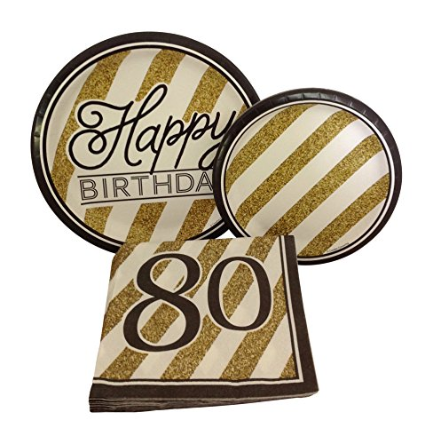 Black and Gold Happy 80th Birthday Party Bundle with Paper Plates and Napkins for 8 Guests