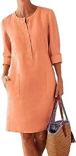 neveraway Women Long Sleeves Linen Cotton Crew Neck Button Up Casual Dress