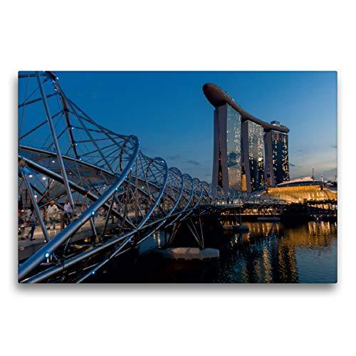 CALVENDO Premium Textil-Leinwand 75 x 50 cm Quer-Format Helix Bridge mit dem Marina Bay Sands Hotel in Singapur, Leinwanddruck von Michael Heber