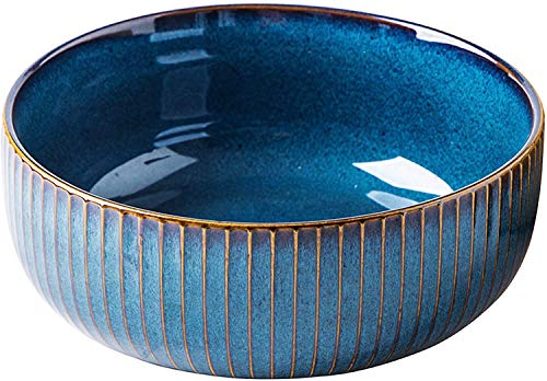 Ceramic Salad Bowl, Large Ceramic Salad Bowl or Soup Bowl 21 cm, Blue series