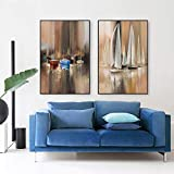 ganlanshu Mural de Cartel de Pintura al óleo Abstracto Moderno del velero, decoración nórdica de la Sala de Estar,Pintura sin Marco,40X60cmx2