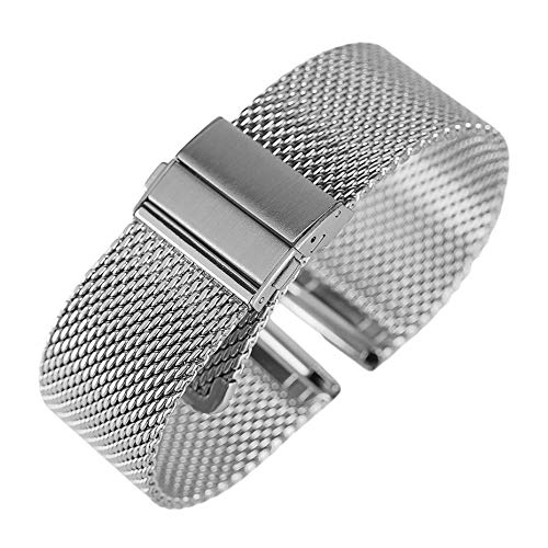 A1-Brave Uhrenarmband, Schwarz/Silber/Rose Goldene 18mm / 20mm / 22mm Uhrenarmband-Mesh-Edelstahl-Bügel Umklappen Spange Uhren Ersatz-Armband (Color : Silver, Size : 20mm)