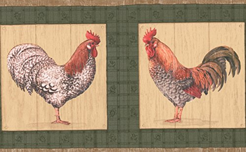 Rooster Plaque on Green Wall Kitchen Bathroom Wallpaper Border Retro Design, Roll 15' x 7''