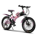 CHHD Bicicleta de montaña de 20/22/24 Pulgadas Bicicleta de Acero con Alto Contenido de Carbono para Adultos o niños, Freno de Disco Doble, Bicicletas para Exteriores para Hombres, muje