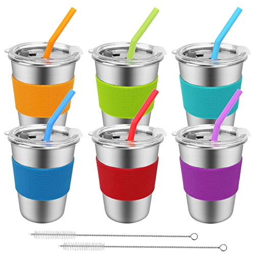 Spill Proof Kids Cups with Straws and Lids,6 Pack 12oz Stainless Steel Drinking Tumblers,Unbreakable Toddler Cup,Reusable Water Glasses,BPA-Free Metal Sippy Mug for Children Adult Indoor Outdoor
