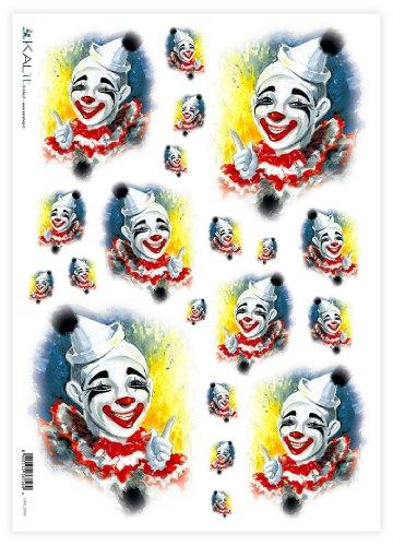 Accademia del Decoupage 32 x 45 cm maschere complemento costume commedia carta di riso