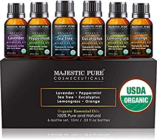 MAJESTIC PURE Aromatherapy Essential Oils Set, Organic Certified Essential Oil Set Includes Lavender, Peppermint, Tea Tree, Eucalyptus, Lemongrass and Orange Oils - Pack of 6-10 ml Each
