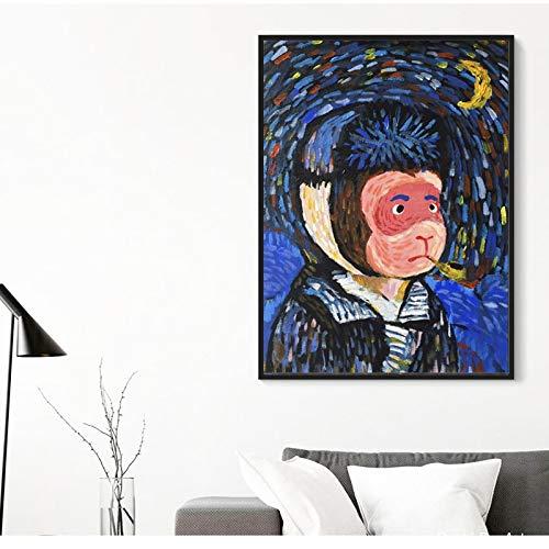 Imprimir en Lienzo Cartel Moderno e imágenes de Mono Animal de Dibujos Animados para el sofá de la Sala de Estar,50x75cm,Pintura sin Marco