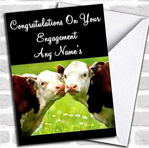 Koeien Kussen Engagement Kaart Met Envelop, Kan Volledig Gepersonaliseerd, Verzonden Snel & Gratis