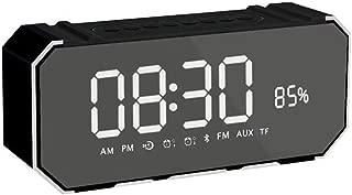 GLJJQMY Bluetooth Speaker Mirror Wireless LED Time Alarm Sound Phone Mobile Mini Portable Card Subwoofer Audio (Color : Black)