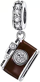 Travel Charm 925 Sterling Silver Camera Charm Suitcase Beads for Fashion Charms Bracelet & Necklace