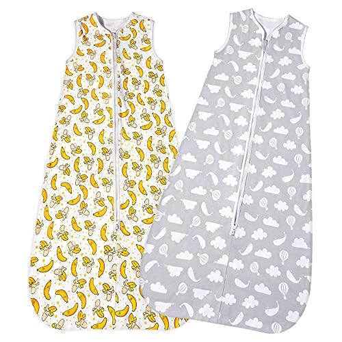 Lictin Schlafsack Baby 2Pcs Sommerschlafsack Baby Schlafsack 0.5 Tog Baby Schlafsack mit Doppeltem Reißverschluss, Sommerschlafsack für Baby 3-18 Monate mit Einstellbarer Länge 62-83cm Grau/Gelb