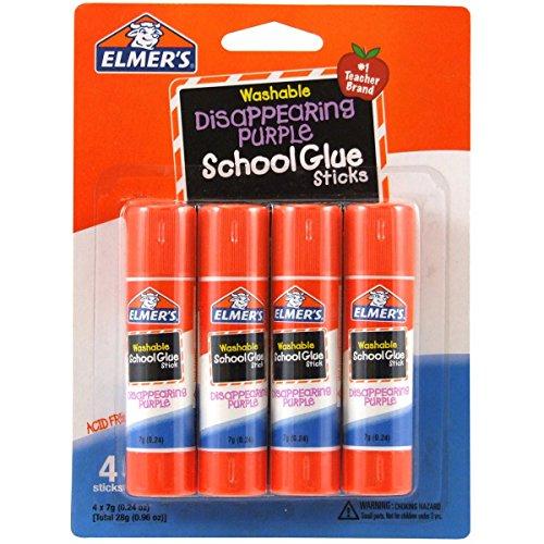 Disappearing Purple School Glue Sticks, 0.24 oz Each, 4 Sticks per Pack