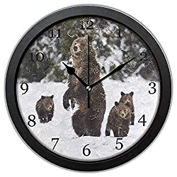 10 inches Winter Snow Grizzly Bear Wall Clock with Framed Silent Non-Ticking Round Clock Art Painting Home Office School Decor or Gift