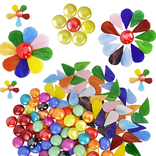 MaxGrain Glass Petal Tiles for Mosaics, Water Drop Shaped Mosaic Tiles Pieces with Glass Gems for Crafts