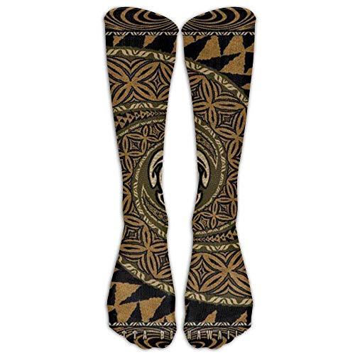 HTHYTJC Long Hawaiian Tapa Honu Turtle Deluxe Socks Women's Winter Vintage Cotton Wool Knit Long Crew Socks