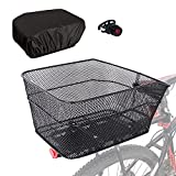 RAYMACE Rear Bike Basket with Waterproof Cover,Bicycle Cargo Rack Storage Basket Mount for Back Under Seat (Black Cover)