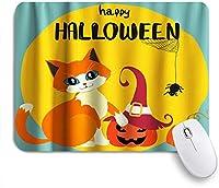 PATINISAマウスパッド ハロウィン面白い猫ゴーストパンプキンキッズテーマ ゲーミング オフィス おしゃれ 防水 耐久性が良い 滑り止めゴム底 ゲーミングなど適用 マウス 用ノートブックコンピュータマウスマット