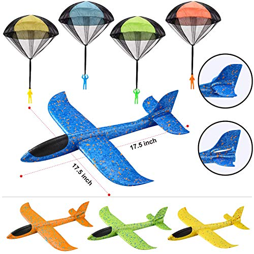 JOYIN 8 Pack 2 in 1 Foam Airplanes and Parachute Toy Combo Set, 2 Flight Mode Glider Planes, Large Throwing Foam Planes and Parachutes, Flying Toys for Kids Outdoor Play,Kids Backyard Outdoor Toys!