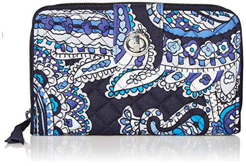 Vera Bradley Signature Cotton Turnlock Wallet with RFID Protection, Deep Night Paisley