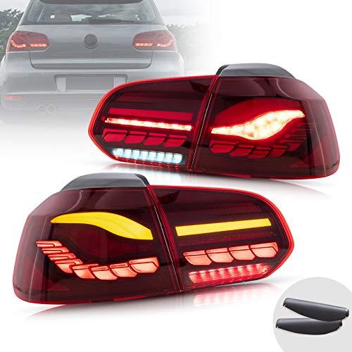 VLAND OLED Luces traseras para Golf 6 MK6 GTI GTD TDI R 2008-2013 Lámpara de cola,con señales de giro secuenciales e iluminación dinámica activada, par (lado del conductor y del copiloto)