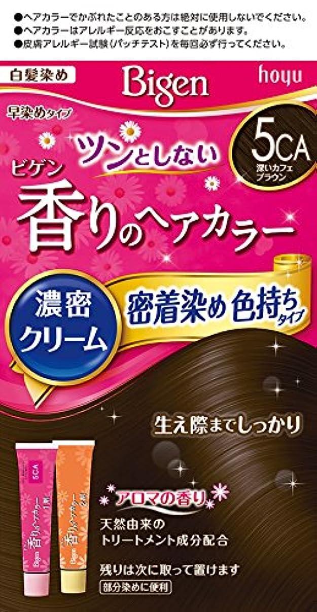 意義粒横ビゲン香りのヘアカラークリーム5CA (深いカフェブラウン) 40g+40g ホーユー