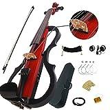 Aliyes Juego de violín eléctrico intermedio B de madera maciza roja 4/4 con funda, arco, colofonia, auriculares, apoyabrazos para hombro, cuerdas (Dszb0015)